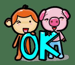 Monkey and Pig Nori AiKa 2 sticker #13007981