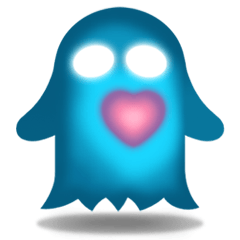 Cute Heart-Glowing Ghost stickers