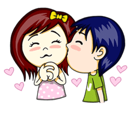 Couple lovely English sticker #9323326