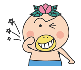 The message of flower blooming HANAKAPPA sticker #8481