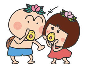 The message of flower blooming HANAKAPPA sticker #8487