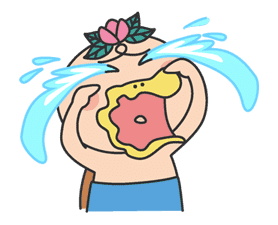 The message of flower blooming HANAKAPPA sticker #8496